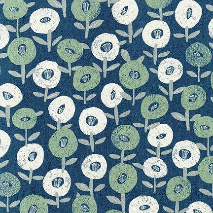 Cotton Flax Prints - Floral Pop (Blue)
