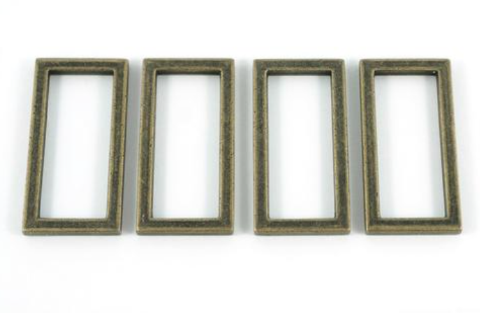 Flat Rectangular Rings 1.5 - Antique Brass - Emmaline Bags