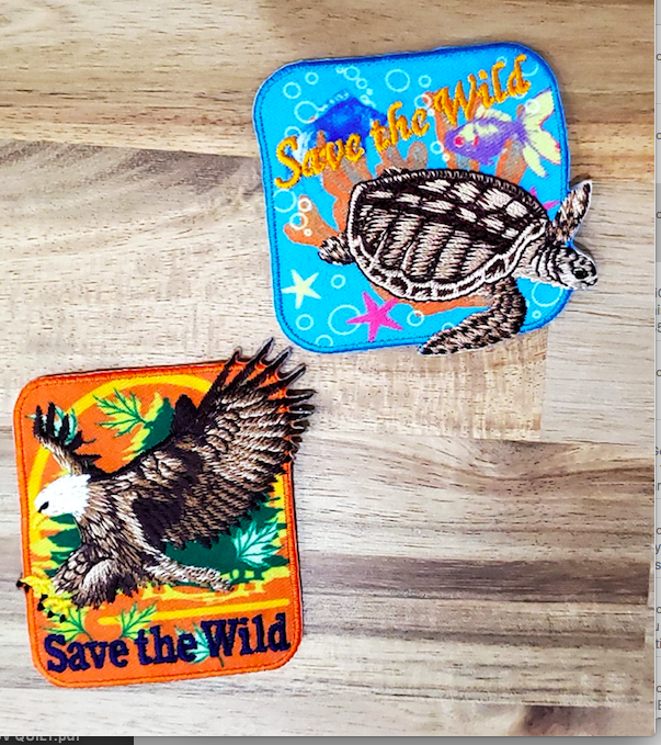 Badge Patch -  Save The Wild - Applique Badge Eagle and Turtle 2 Pack
