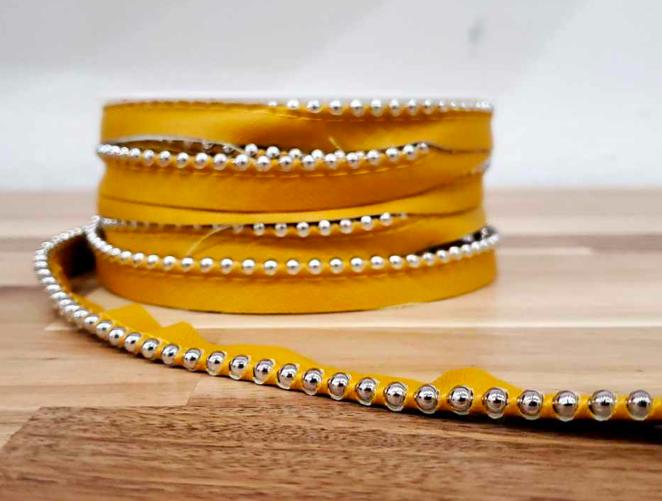 Faux Leather w/ Metal Balls (Mustard)