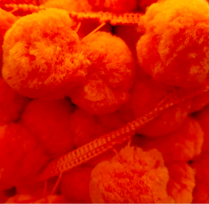 XL Ball Fringe Pom Pom (Orange)