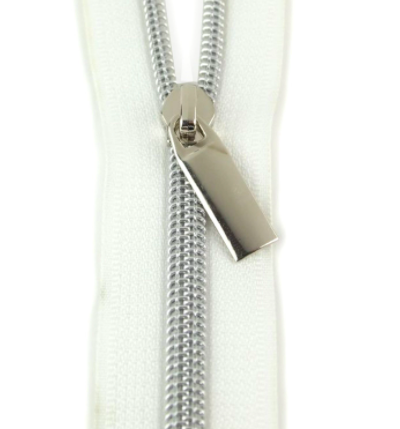 Sallie Tomato Zippers by the Yard (White Tape Nickel)