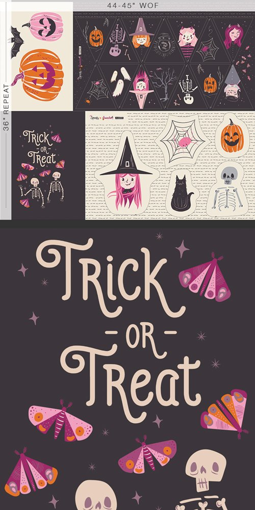 Art Gallery Fabrics - Spooky 'n Sweeter  - Sweet Haunting 36 Panel
