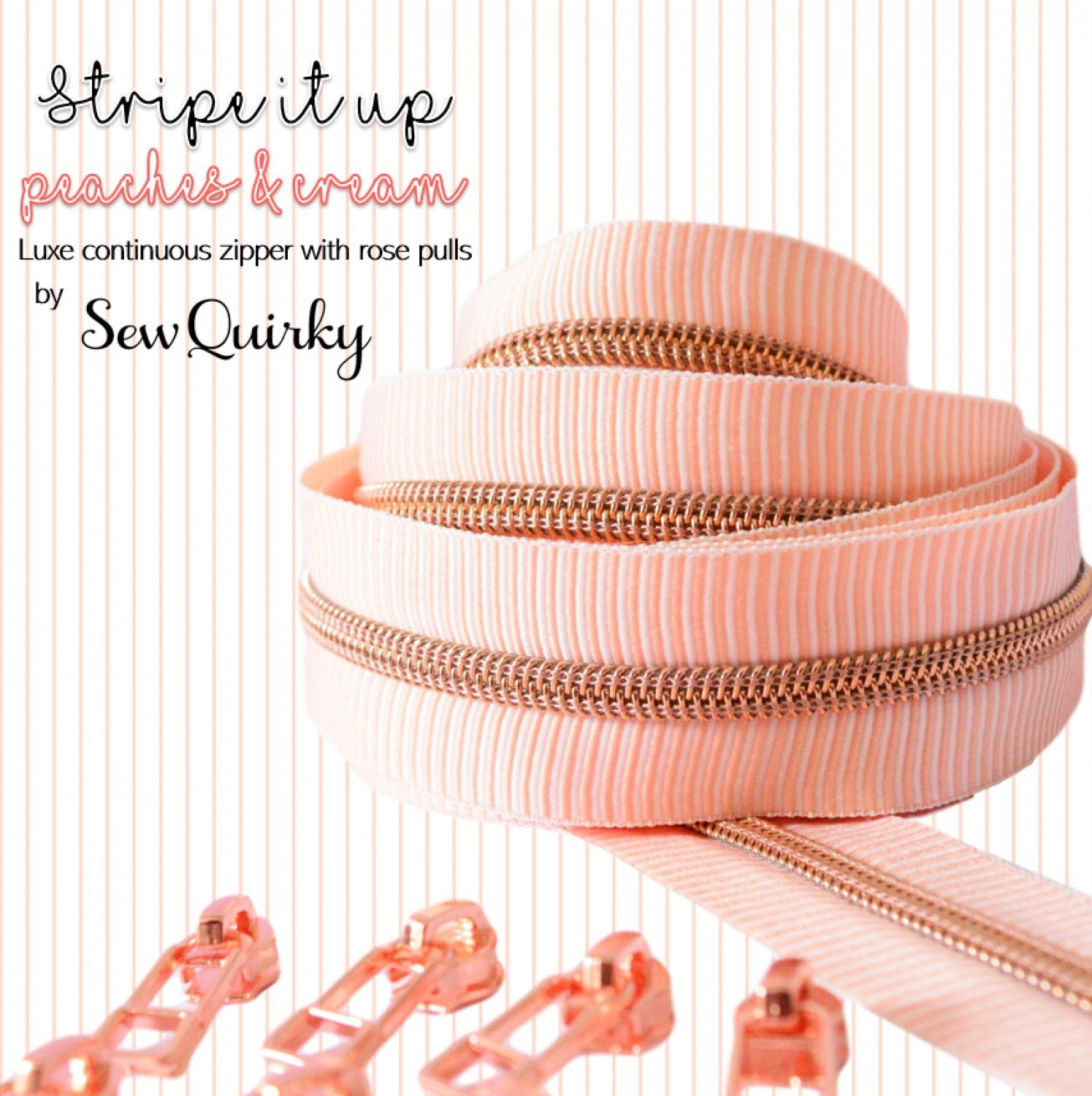 Sew Quirky - Stripe It Up  Peaches and Cream- 3 1/4 yards