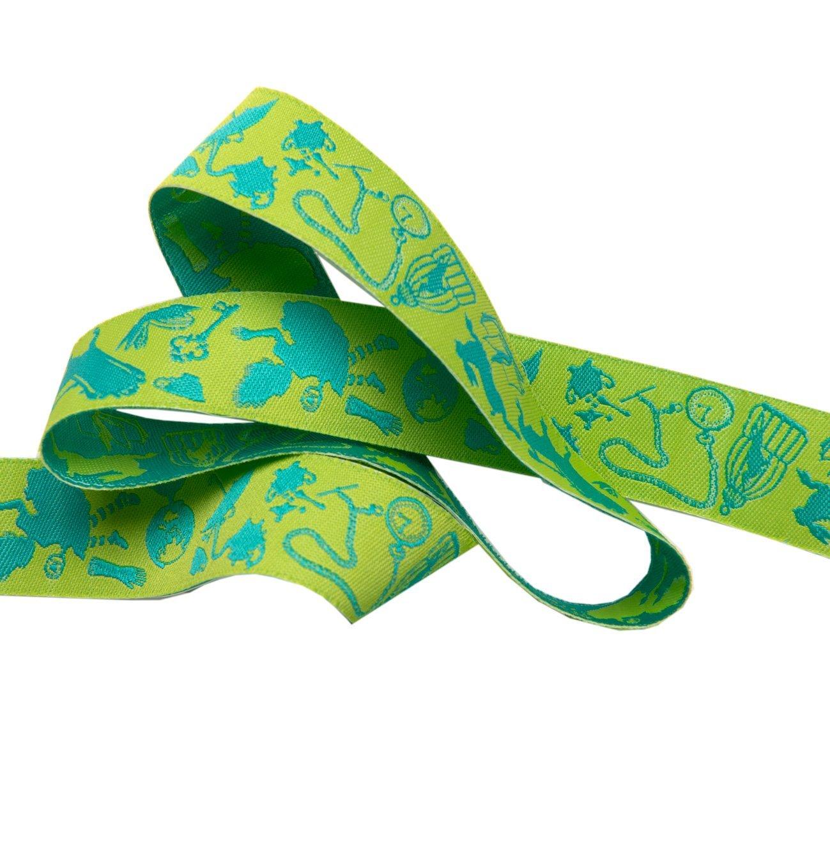 Renaissance Ribbons -Tula Pink Curiouser -  Down the Rabbit Hole (Green) 7/8