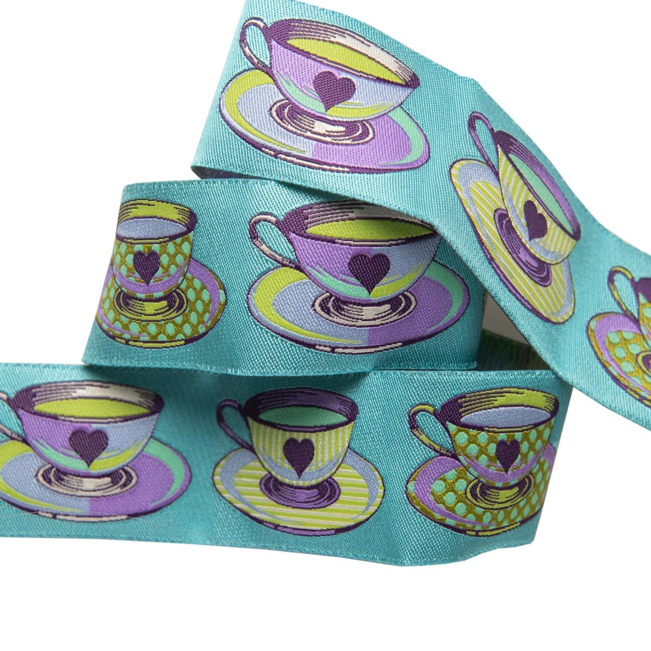 Renaissance Ribbons -Tula Pink Curiouser - Tea Time Blue-7/8
