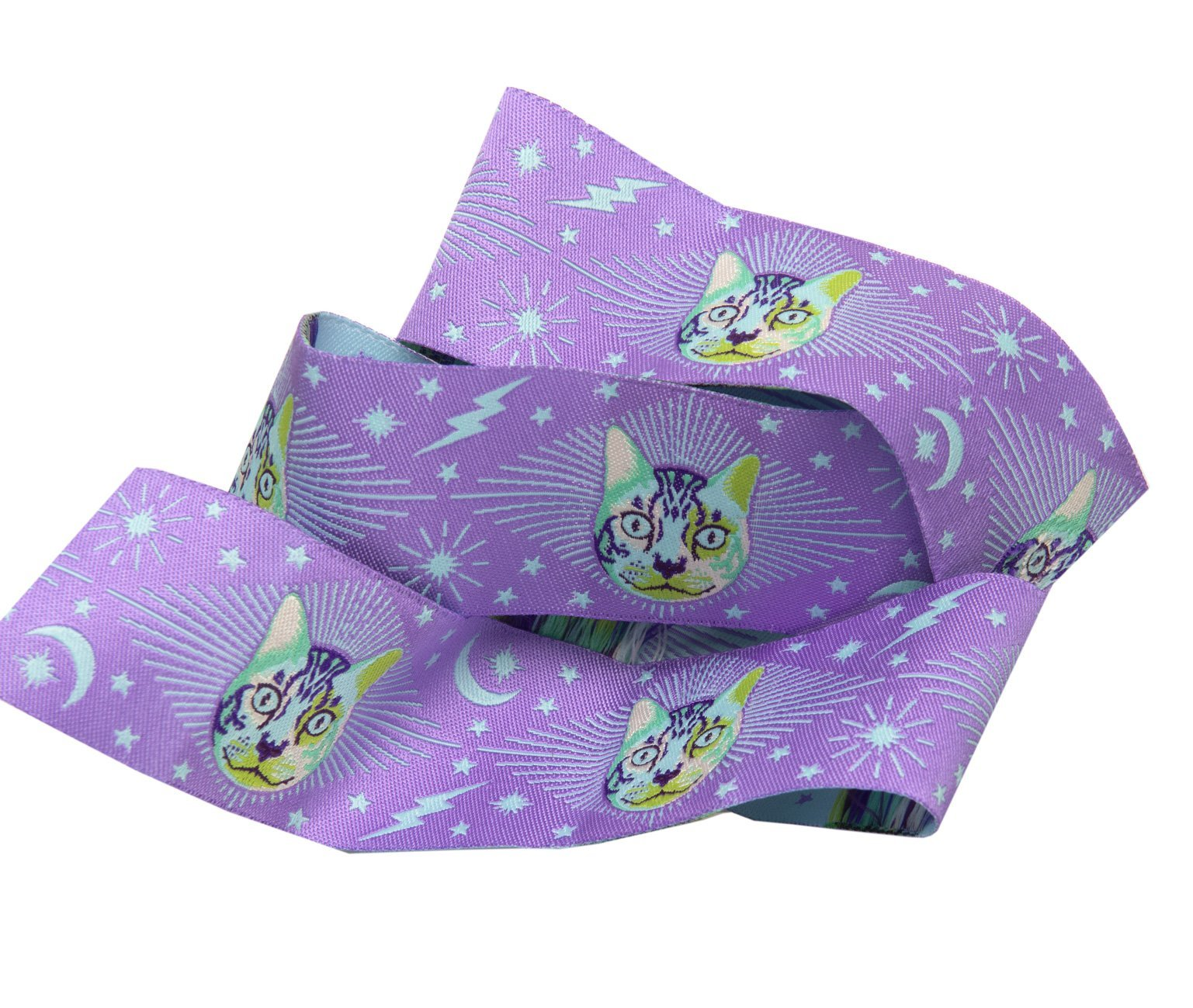 Renaissance Ribbons -Tula Pink Curiouser - Cheshire Cat on purple-1 1/2