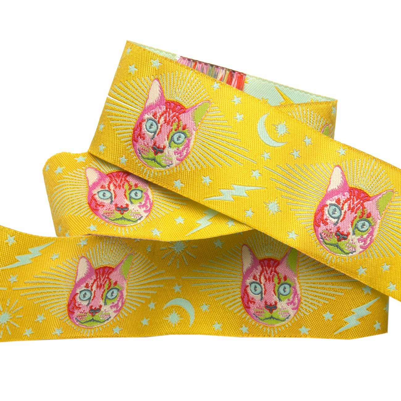 Renaissance Ribbons -Tula Pink Curiouser - Cheshire Cat on yellow-1 1/2