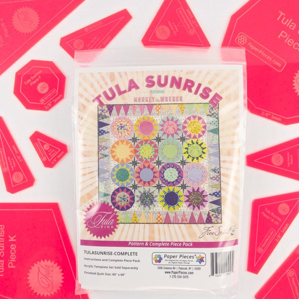 Paper Pieces - Tula Sunrise Bundle - Complete Pattern and Paper Piece Pack and Acrylic Templates 3/8 inch Seam Allowance