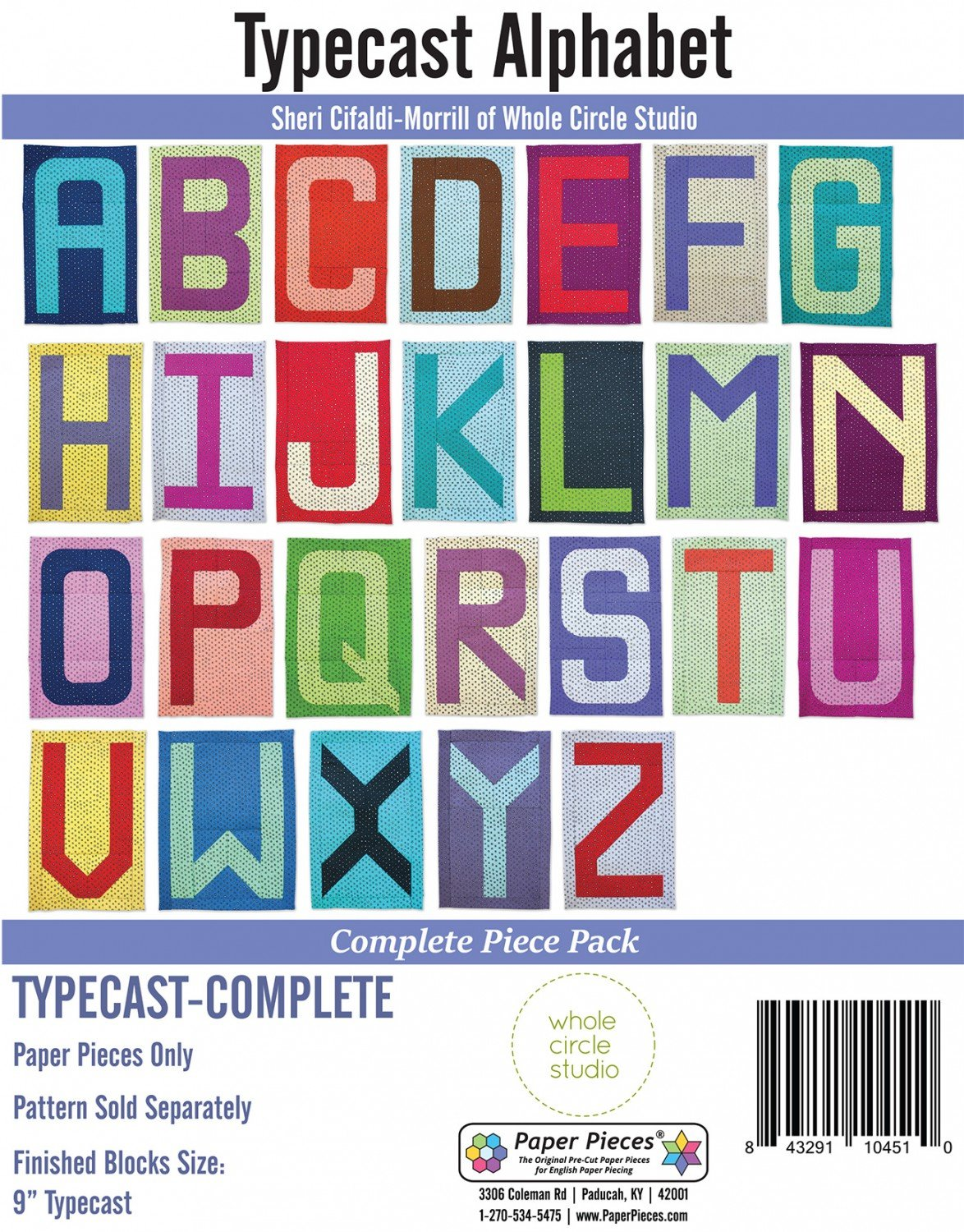 Whole Circle Studio - Typecast Alphabet Blocks Paper Piece Pack