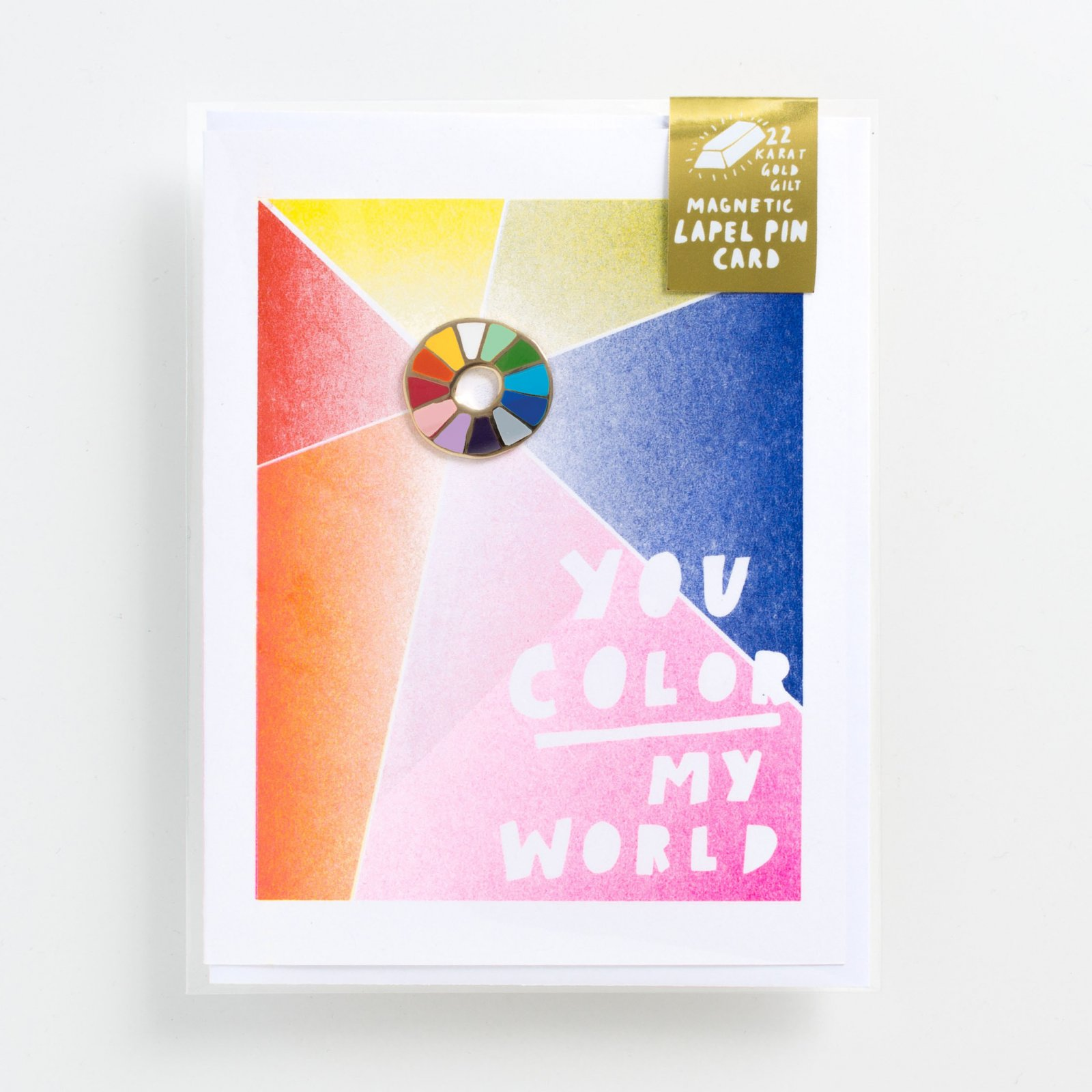 Yellow Owl Lapel Pin Card - You Color My World