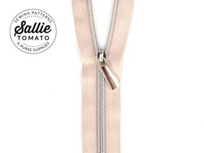 Sallie Tomato Zippers by the Yard (Beige Tape and Nickel Zipper)