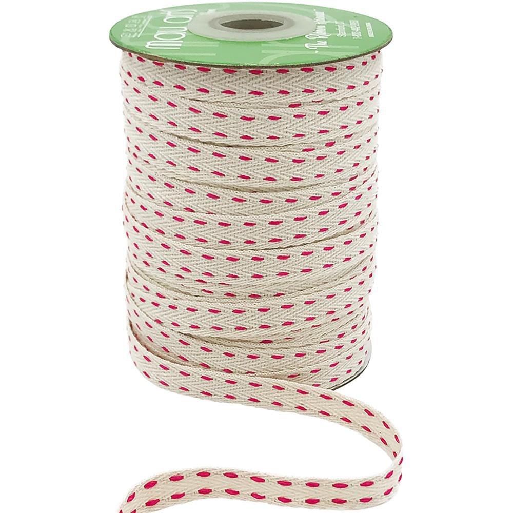 Red Stitches Ribbon 3/8