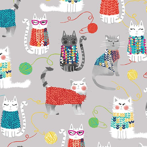 Knit Together Cats in Gray - FQ
