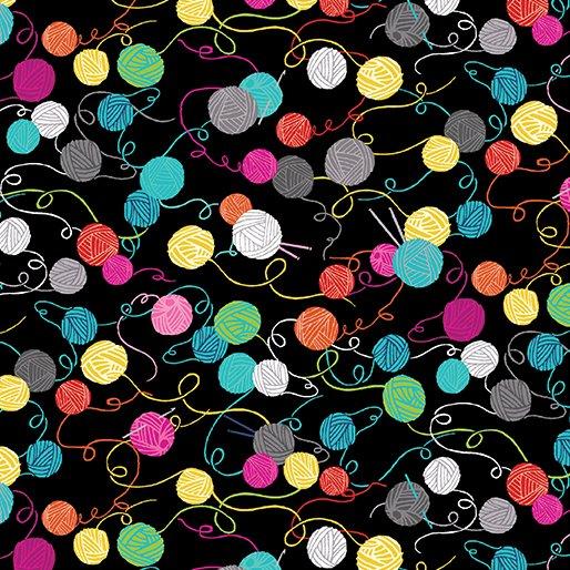 Knit Together Little Yarn Balls in Black - FQ