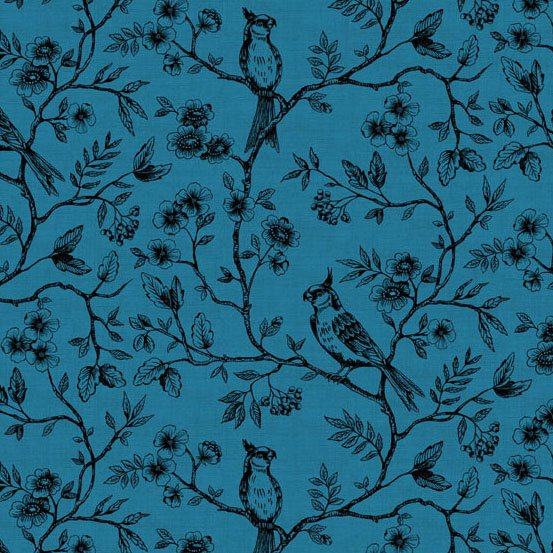Birds on Vine in Blue