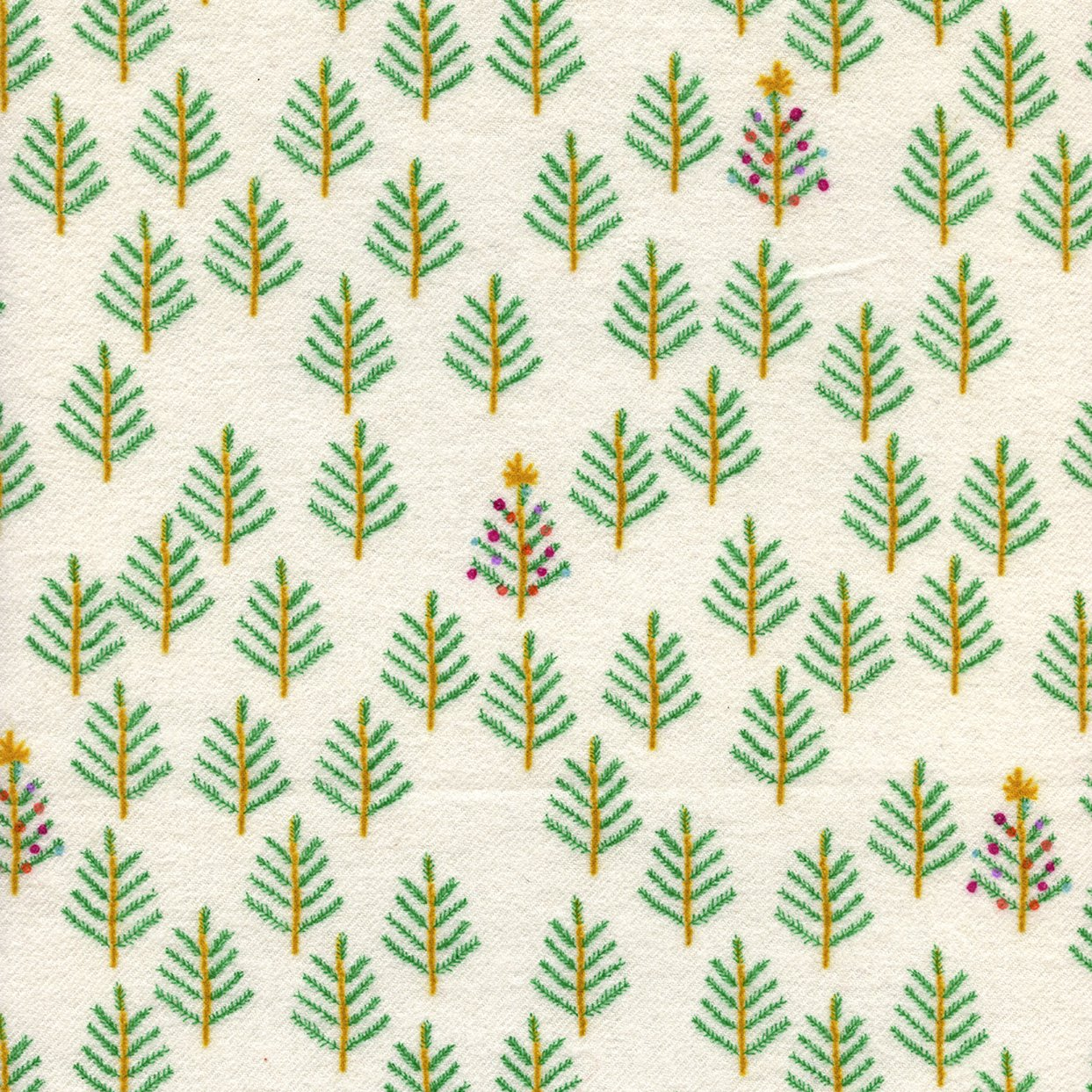 Tinsel Brushed Twill Christmas Forest in White