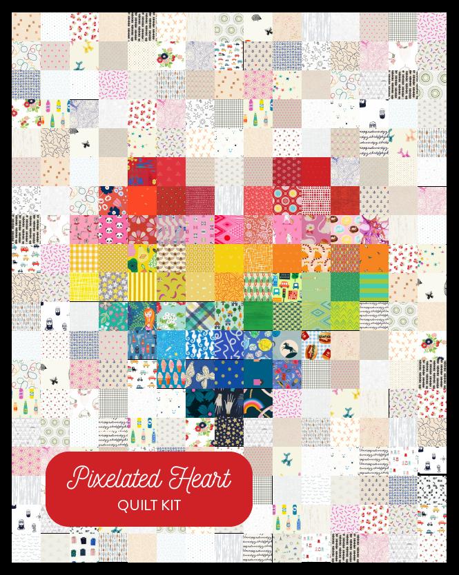 Pixelated Rainbow Heart - Quilt Kit