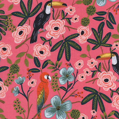 Paradise Garden Cotton Rayon Lawn in Coral