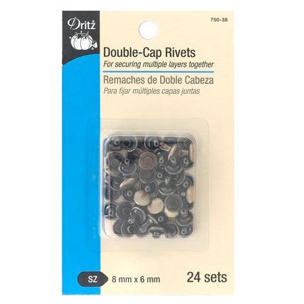 Double-Cap Rivets 8mm x 6mm - Antique Brass