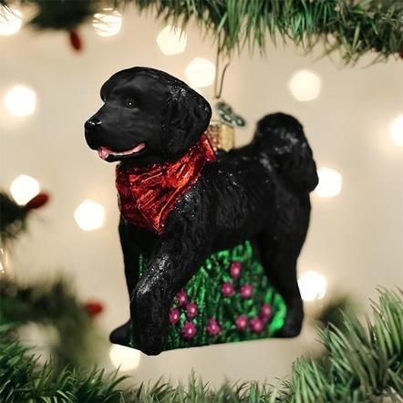 Old World Christmas Black Doodle Dog Ornament