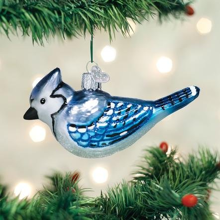 Old World Christmas Bright Blue Jay  Ornament