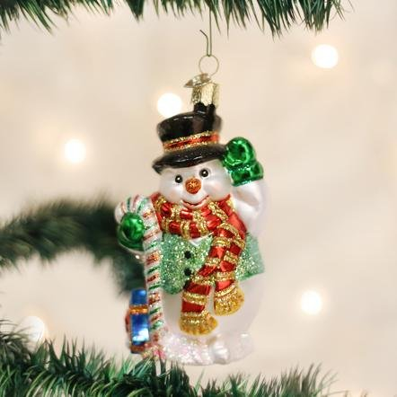Old World Christmas Candy Cane Snowman  Ornament