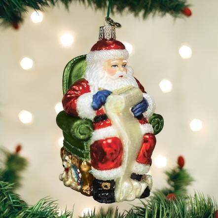 Old World Christmas Santa Checking His List Ornament