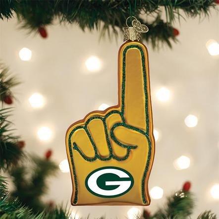 Old World Christmas Green Bay Packer Foam Finger Ornament