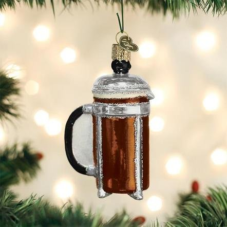 Old World Christmas French Coffee Press  Ornament