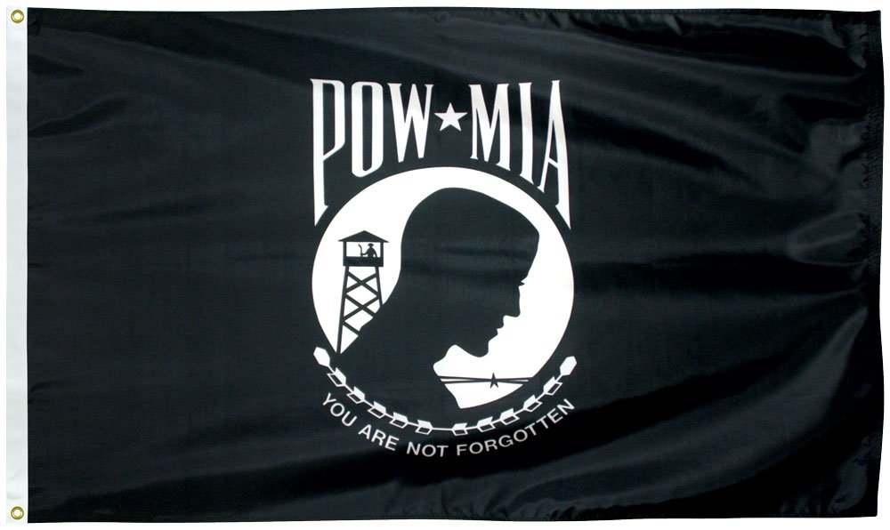 Outdoor Nylon POW/MIA flag. Single  Reverse.