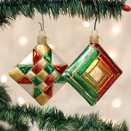 Old World Christmas Quilt Square Ornament