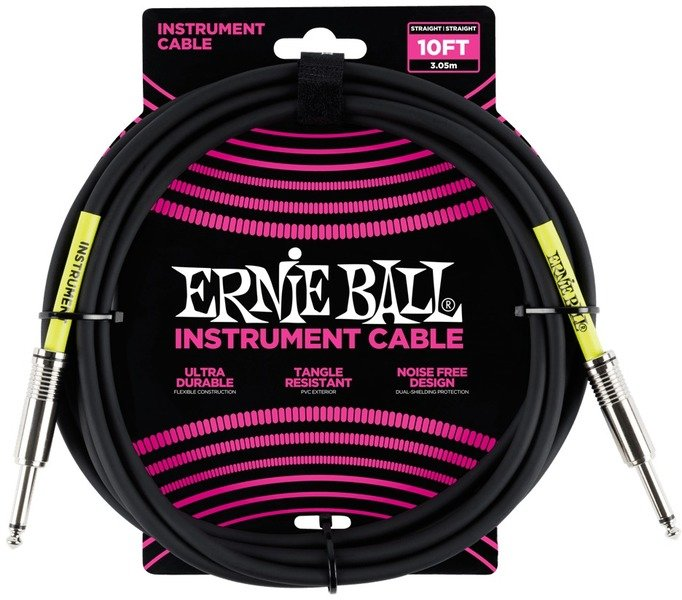 Ernie Ball 10' Instrument Cable- STR to STR in Black