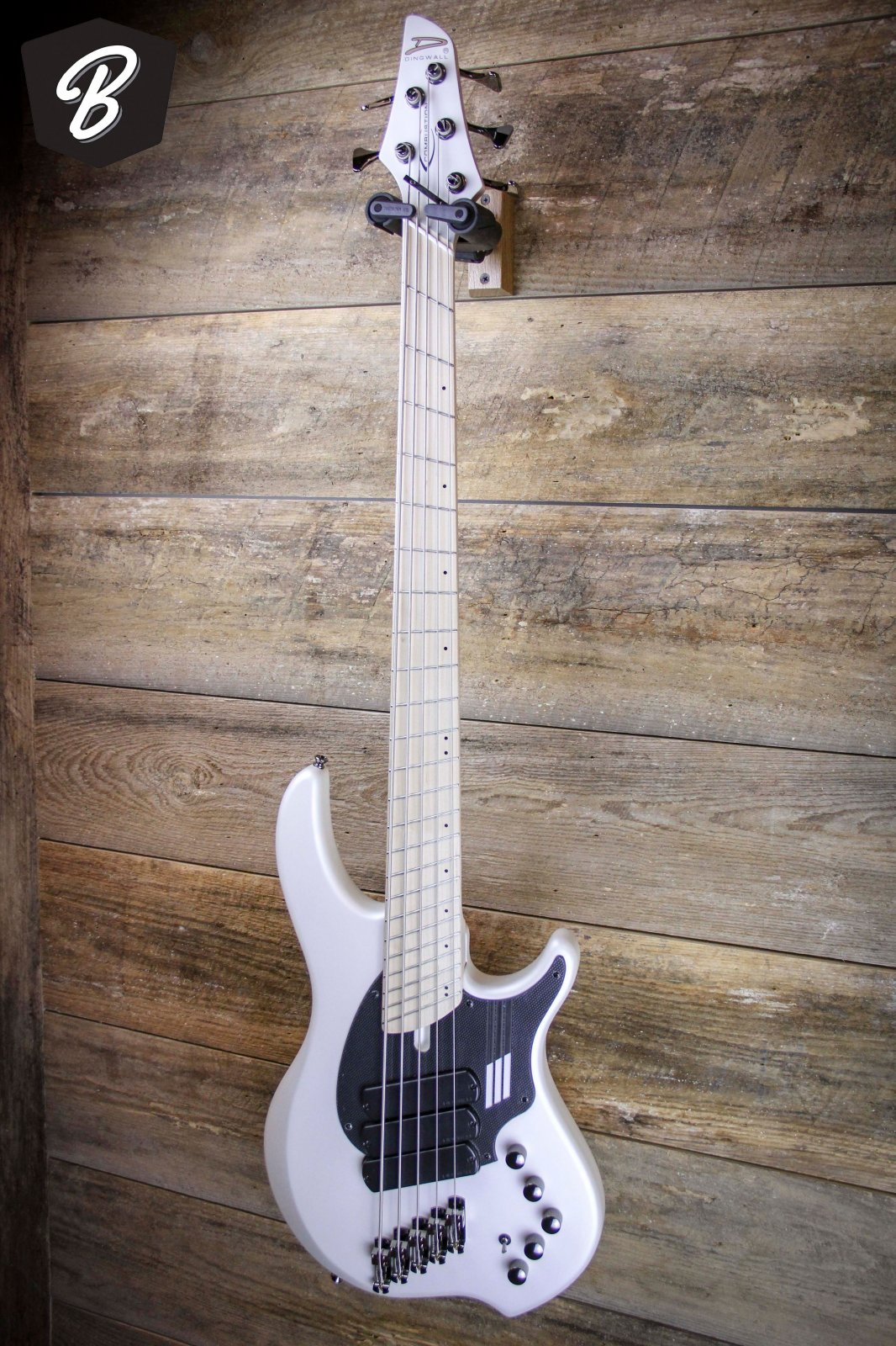Dingwall NG-3 5 String in Ducati White & Carbon Fiber Print Pickguard