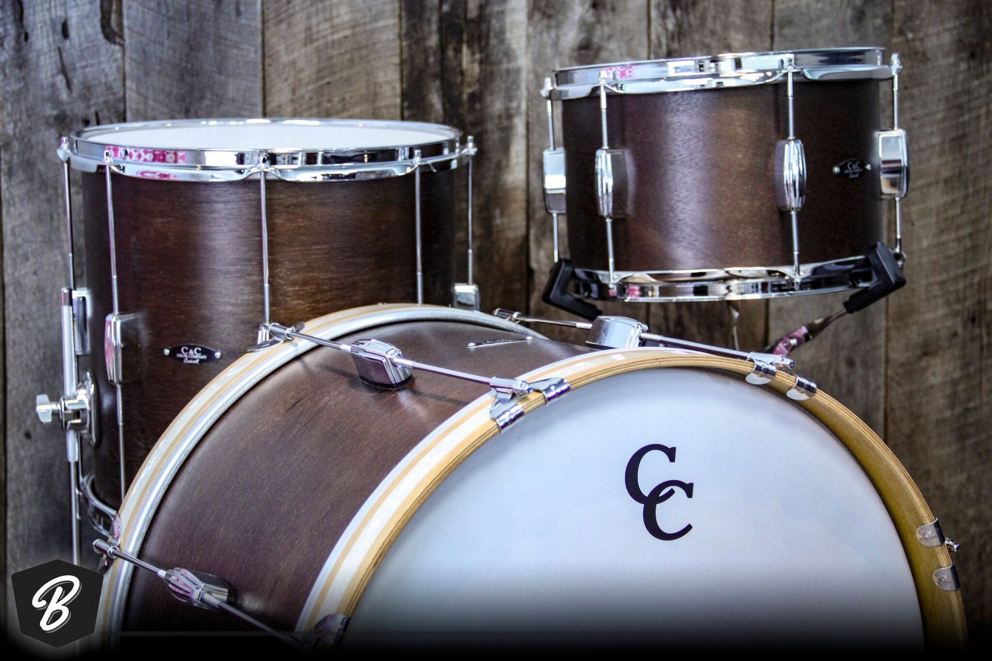 C&C Drum Company Player Date I Be-bop kit in Walnut Satin