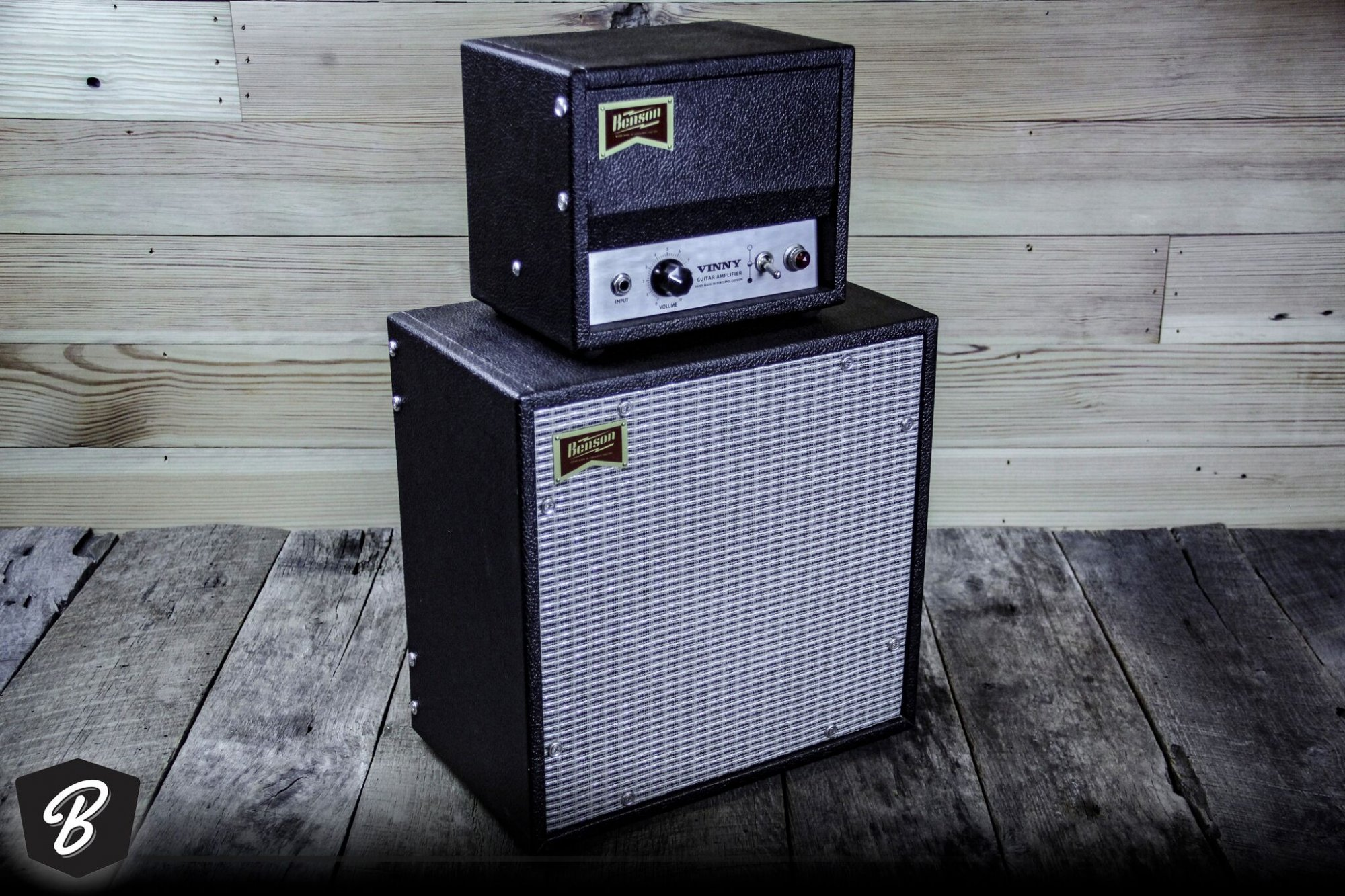 Benson Vinny Head and Cab in Black Tolex and Silver Grill