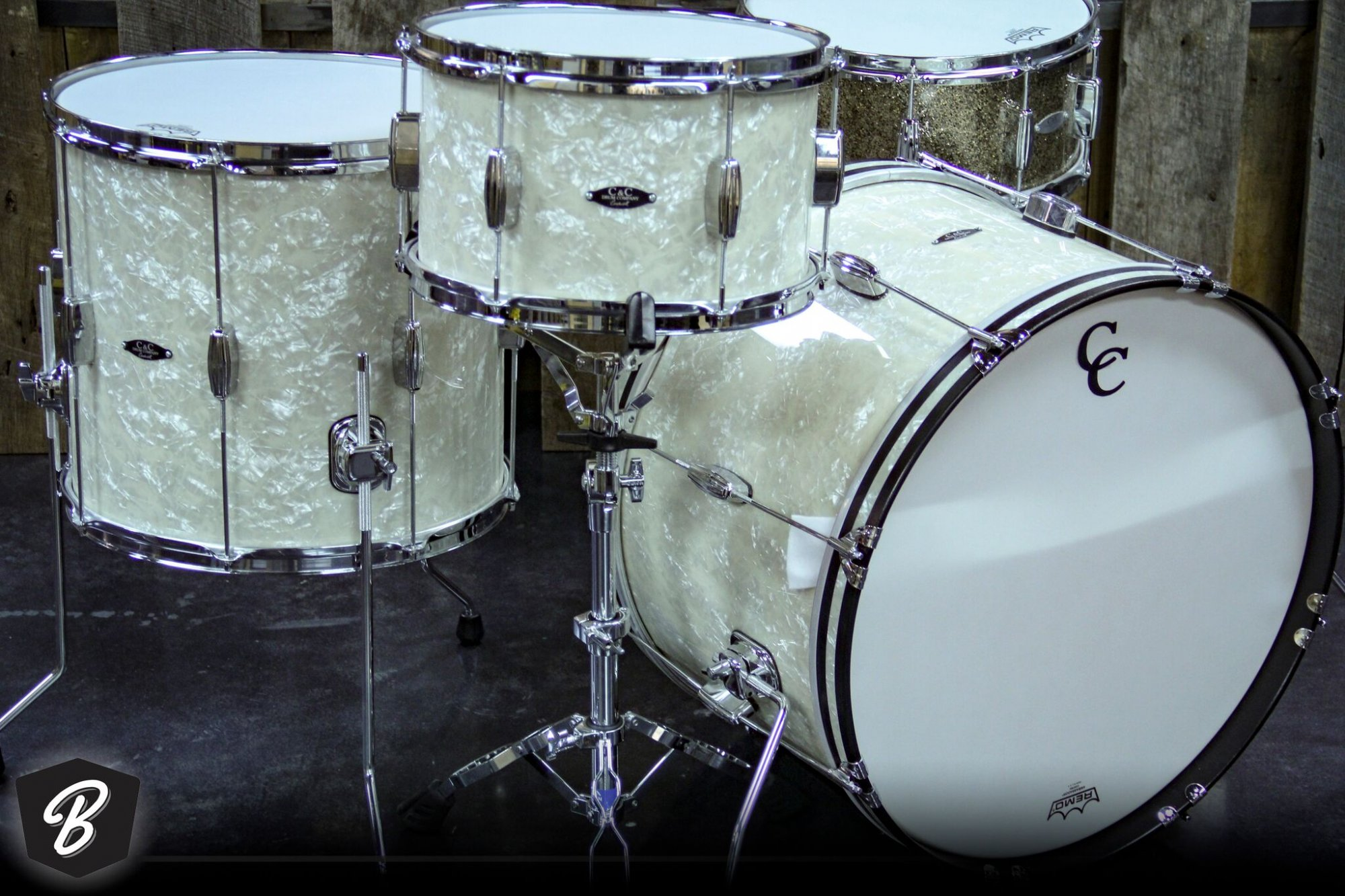 C&C Drum Company Player Date II Big Beat Series kit in Aged Marine Pearl