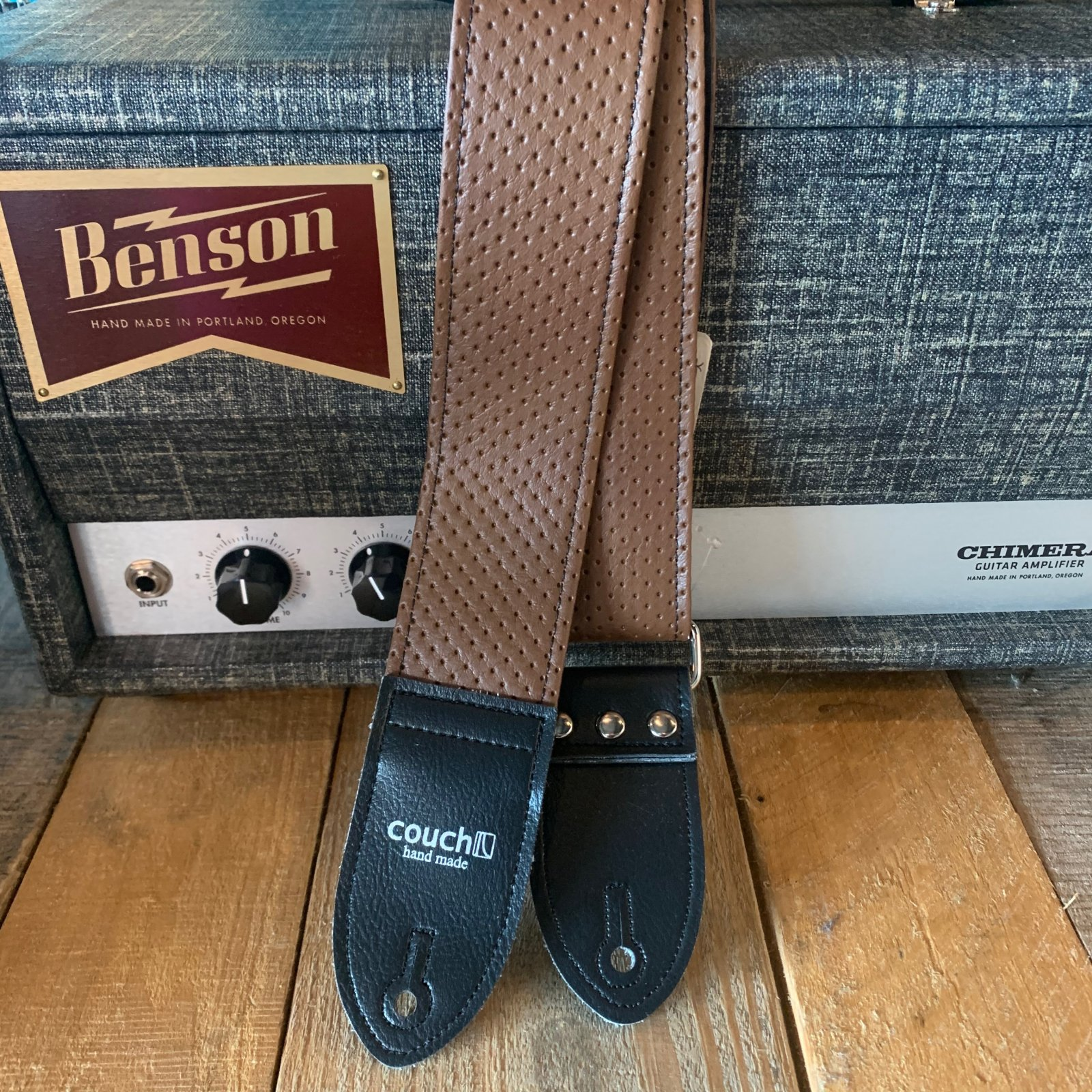 Couch L044 Vintage Brown Camino Guitar Strap w/ Black Tabs