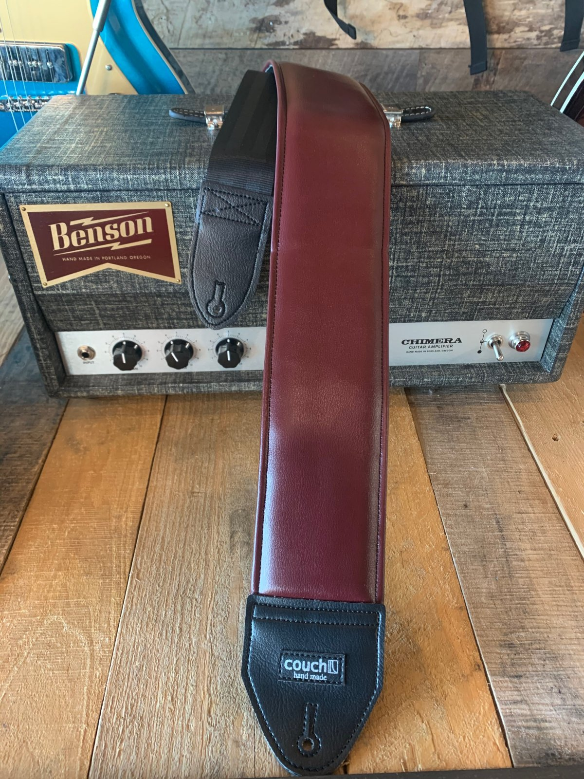 Couch WB001 Vintage Maroon 3 Inch Wide Padded Bass Strap
