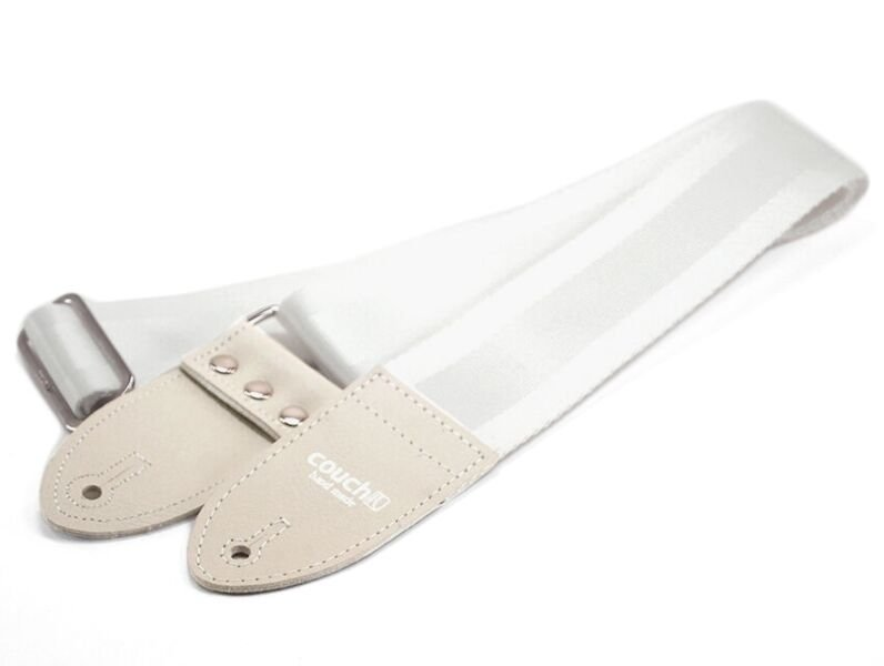 Couch All White Seatbelt Guitar Strap