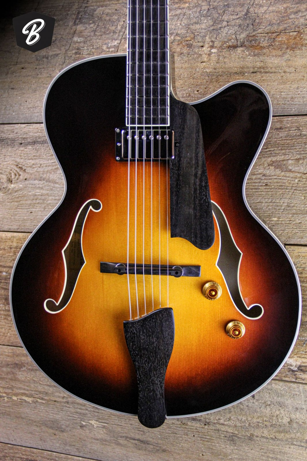 Eastman AR503CE-SB Solid Carved Top Electric Guitar w/Case