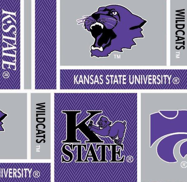 Kansas State University Cotton Fabric Geometric Herringbone Design