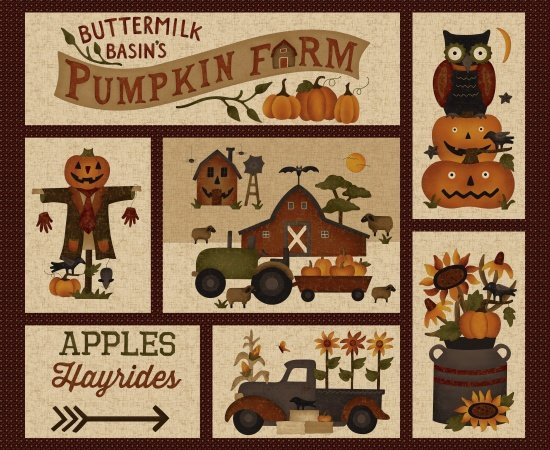 Pumpkin Farm Cream Pumpkin Farm Squares Quilt Panel SKU# 2050P-44