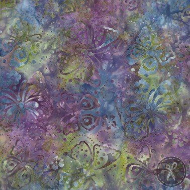 Butterflies Batik Fabric - Green/Purple - copy