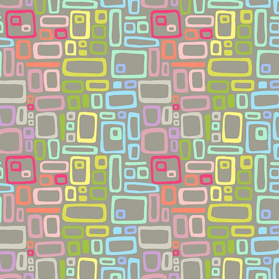 Uptown - Rainbow Rectangles - Grey - A8664 - C