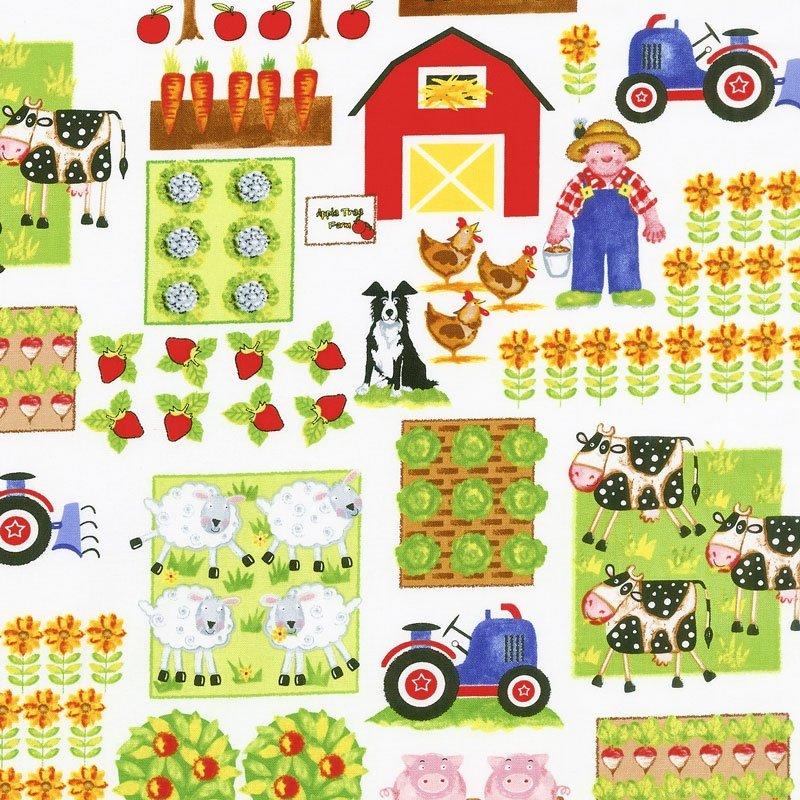 Apple Tree Farm - Various Farm Motifs White Yardage 8835-01