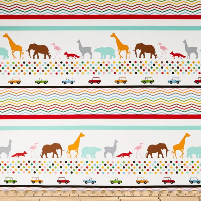 Little Explorers Border Stripe Multi Fabric