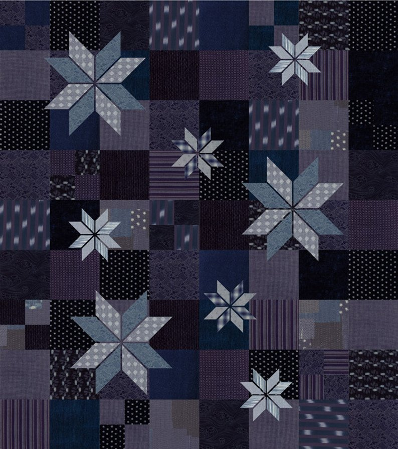 Bodoko Quilt Kit 33400B in blue by Boro fabric for Moda 64 x 72 quilt top and binding