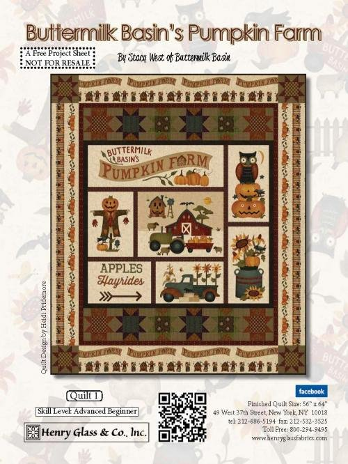 Pumpkin Farm Buttermilk Basin Panel Quilt Kit 56 x 64
