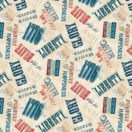 Land of Liberty - Words Allover Tan Yardage - 3009 24040 243